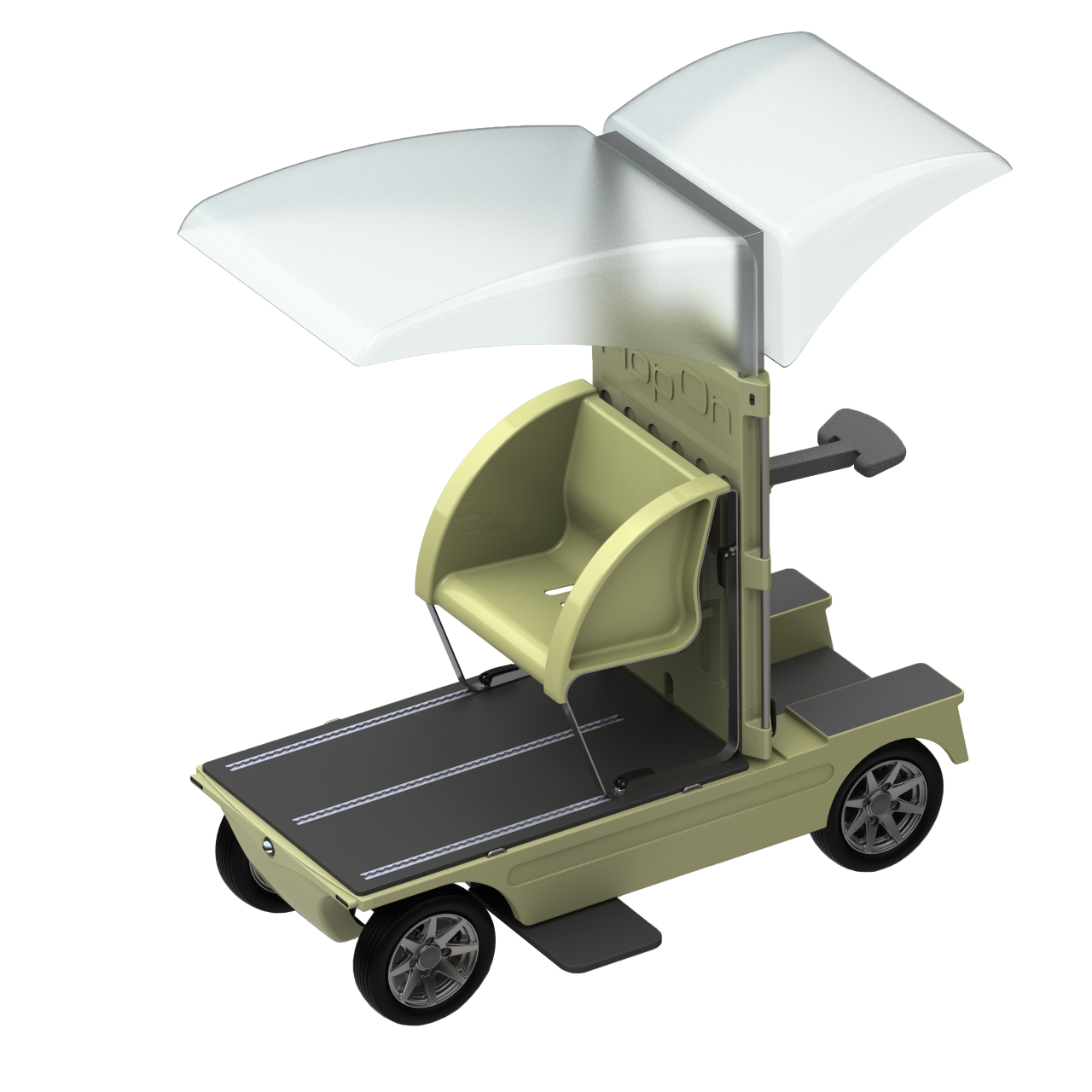 HopOn for passenger transport with seat and rain cover